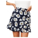 Girls Fancy Blue Floral Printed High Rise Mini A-Line Skirt