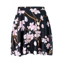 Black Chic Floral Pattern High Rise Mini A-Line Pleated Skirt