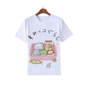 Girls Lovely Cartoon Cat Printed Round Neck Short Sleeve White Casual Tee