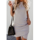 Hot Popular Simple Solid Color Round Neck Short Sleeve Mini Sheath T-Shirt Dress