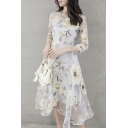 Summer Chic Floral Printed Round Neck Three-Quarter Sleeve Midi A-Line Organza Dress