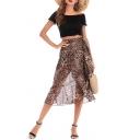 Stylish Khaki Leopard Pattern Tied Waist Midi Chiffon Flowy Wrap Skirt