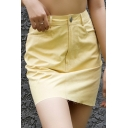 Stylish Yellow Plain High Waist Frayed Hem Mini Bodycon Skirt