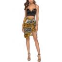 Fashion Yellow Tiger Skin Print Sexy Split Front Mini Bodycon Skirt