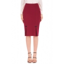 Fashion Simple Plain Split Side Midi Pencil Skirt for Women