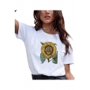 Popular Letter LET IT BE Sunflower Print Round Neck Short Sleeve Casual Tee