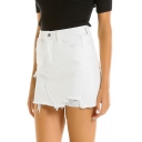 Summer Womens Destroyed Ripped White Skinny Fit Denim Skirt