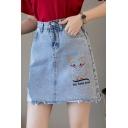 Cartoon Pig Letter MY BEST LOVE Embroidery Raw Hem High Waist Light Blue Mini A-Line Denim Skirt