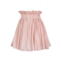 Chic Simple Plain Ruffled Elastic Waist Mini A-Line Pleated Flared Skirt with Liner