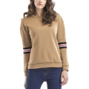 Khaki Round Neck Striped Long Sleeve Casual Loose Pullover Sweatshirt