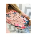 Popular Trendy Floral Letter Printed Round Neck Long Sleeve Pullover Sweatshirt