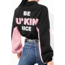 Womens Cool Street Letter BE FUCKING NICE Print Two-Tone Zipper Stand Collar Drawstring Hem Crop Black Sweatshirt