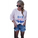 Womens Simple Letter BEACH Print Crewneck Long Sleeve Pullover Casual Sweatshirt