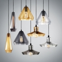 Mirror Glass Barn/Cone/Droplet Pendant Light Modern Single Light Hanging Lamp in Amber/Clear/Smoke