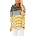 Womens Hot Popular Camo Striped Print Long Sleeve Sport Loose Pullover Hoodie