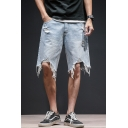 Popular Fashion Ripped Detail Fringed Trim Simple Plain Casual Denim Shorts for Men