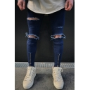 Men's Trendy Fashion Knee Cut Zip-Embellished Cuffs Blue Ripped Skinny Jeans