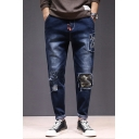 Men's Fashion Cool Camouflage Letter 78 Patched Drawstring Waist Rolled Cuffs Casual Relaxed Ripped Jeans