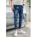 Funny Cartoon Graffiti Printed Rolled Cuffs Slim Fit Men's Casual Ripped Jeans
