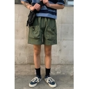 Men's Personalized Fashion Drawstring Pocket Design Simple Plain Casual Loose Cargo Shorts