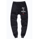 Men's Stylish Popular Letter WHY YOU SO SERIOUS Printed Drawstring Waist Cotton Sweatpants