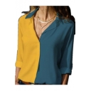 Womens New Stylish Two-Tone Sexy V-Neck Long Sleeve Casual Office Shirt Blouse