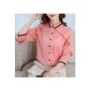 Office Lady Fashion Ruffled Hem Button Down Fitted Chiffon Shirt Blouse