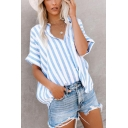 Summer Trendy Light Blue Vertical Wide Striped Short Sleeve Shirt Blouse