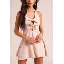 Stylish Simple Plain Sexy Knotted Cutout Halter Neck Open Back Sleeveless Mini Pink A-Line Dress