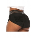 Summer Womens Trendy Sexy Striped Waist Pleated Back Black Stretch Fit Hot Pants Yoga Shorts