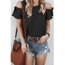 Summer Hot Popular Plain Round Neck Cold Shoulder Short Sleeve Plain Casual T-Shirt