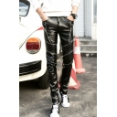 Punk Style Solid Color PU Leather Zipper Embellished Men's Black Pencil Pants