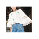 Girls Summer Fashion Hollow Out Sleeve Simple Leaf Printed Round Neck White Oversized Tee