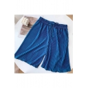 Summer Trendy Simple Plain Comfort Drawstring Waist Pleated Casual Pull On Shorts