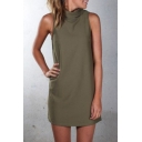 Womens Trendy Simple Plain High Neck Sleeveless Mini Sheath Dress