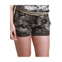Womens Summer Cool Army Green Camo Printed Button Pocket Fitted Shorts