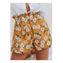 Summer Womens Popular Fancy Yellow Floral Print Loose Fit Paperbag Shorts