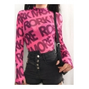 Girls Cool Street Fashion Allover Letter MORE Print Mock Neck Long Sleeve Pink Slim Sheer Mesh Crop Tee