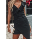 Trendy Simple Plain Ruffled V-Neck Sleeveless Mini Bodycon Asymmetrical Dress