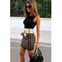 Womens Fancy Basic Round Neck Sleeveless Black Mini Bodycon Dress