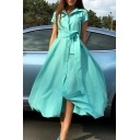 Womens Trendy Plain Lapel Collar Short Sleeve Tied Waist Button Down Maxi Swing Shirt Dress