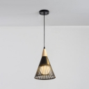 1/3 Lights Cone Shade Hanging Light Fixture Modern Simple Metal Suspended Lamp in Black/White
