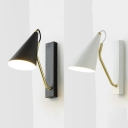 Iron Conical Shade Wall Lamp for Bedside Hallway Modern 1 Light Sconce Lighting in Black/White