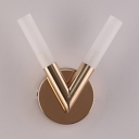 Double Light V Shaped Wall Light for Hallway Post Modern Frosted Glass Wall Lamp in Gold