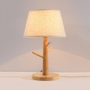 Fabric Tapered Shade Table Lighting Contemporary 1 Light Desk Lamp with Wood Base