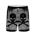 Men's Popular Fashion 3D Skull Printed Drawstring Waist Black Relaxed Casual Shorts