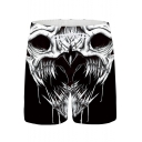 Men's Hot Fashion 3D Skull Printed Drawstring Waist Black Casual Relaxed Shorts