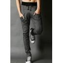 Men's New Fashion Simple Plain Drawstring Waist Zip Embellished Slim Fit Sweatpants