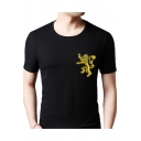 Popular Six House Badge Logo Embroidery Summer Mens Short Sleeve T-Shirt