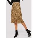 Womens Trendy Khaki Leopard Printed Button Down Midi Fitted Skirt
